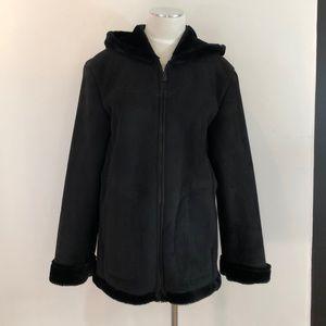 Jones New York Women's Black Sherpa Hooded Coat